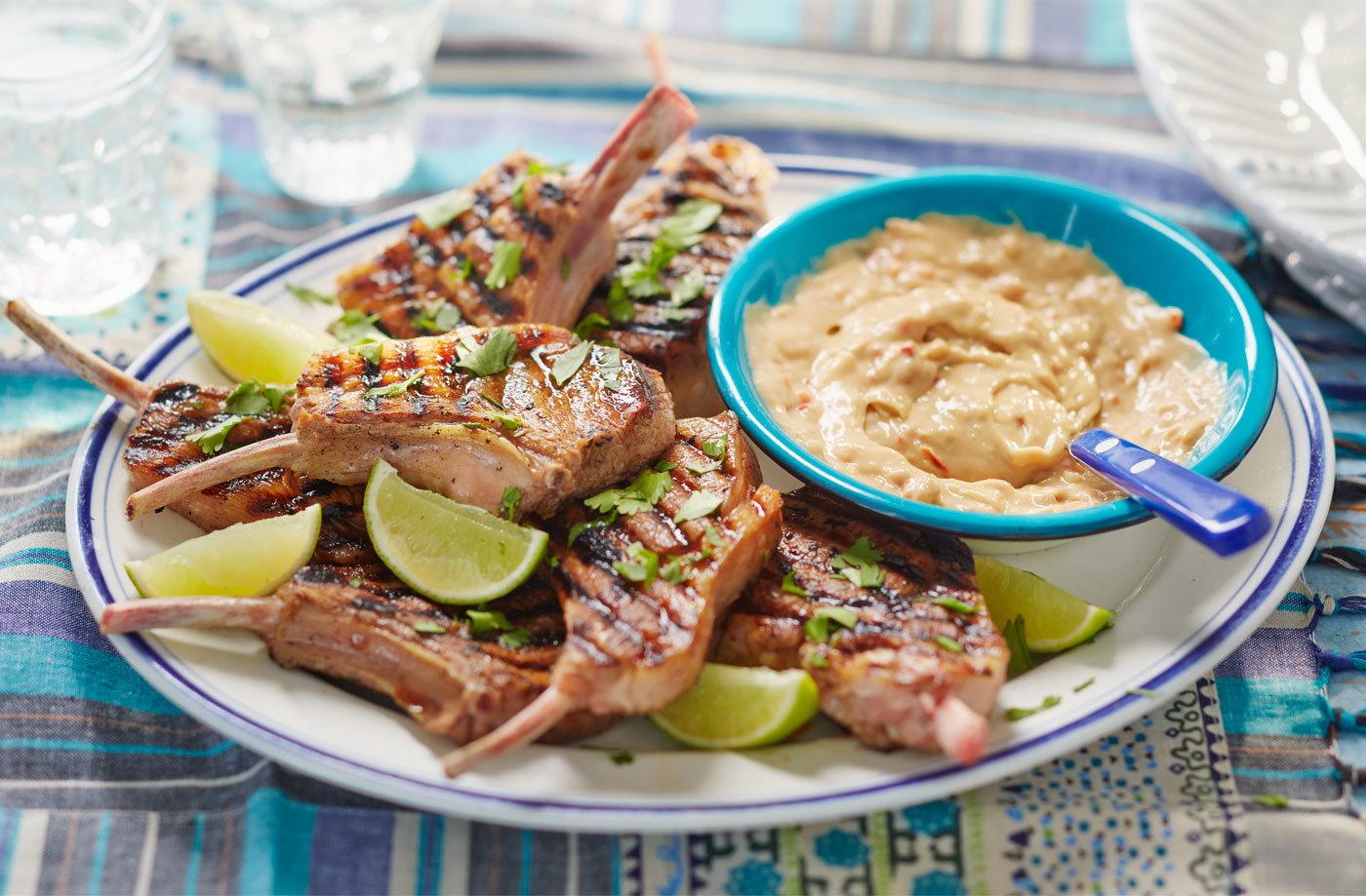 BBQ lamb chops with satay sauce