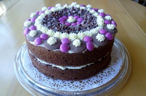 Chocolate Button and Smartie Cake