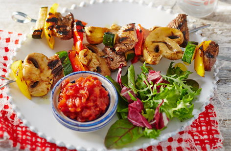 These lamb kebabs are marinated in cola to give them a deliciously sweet glaze