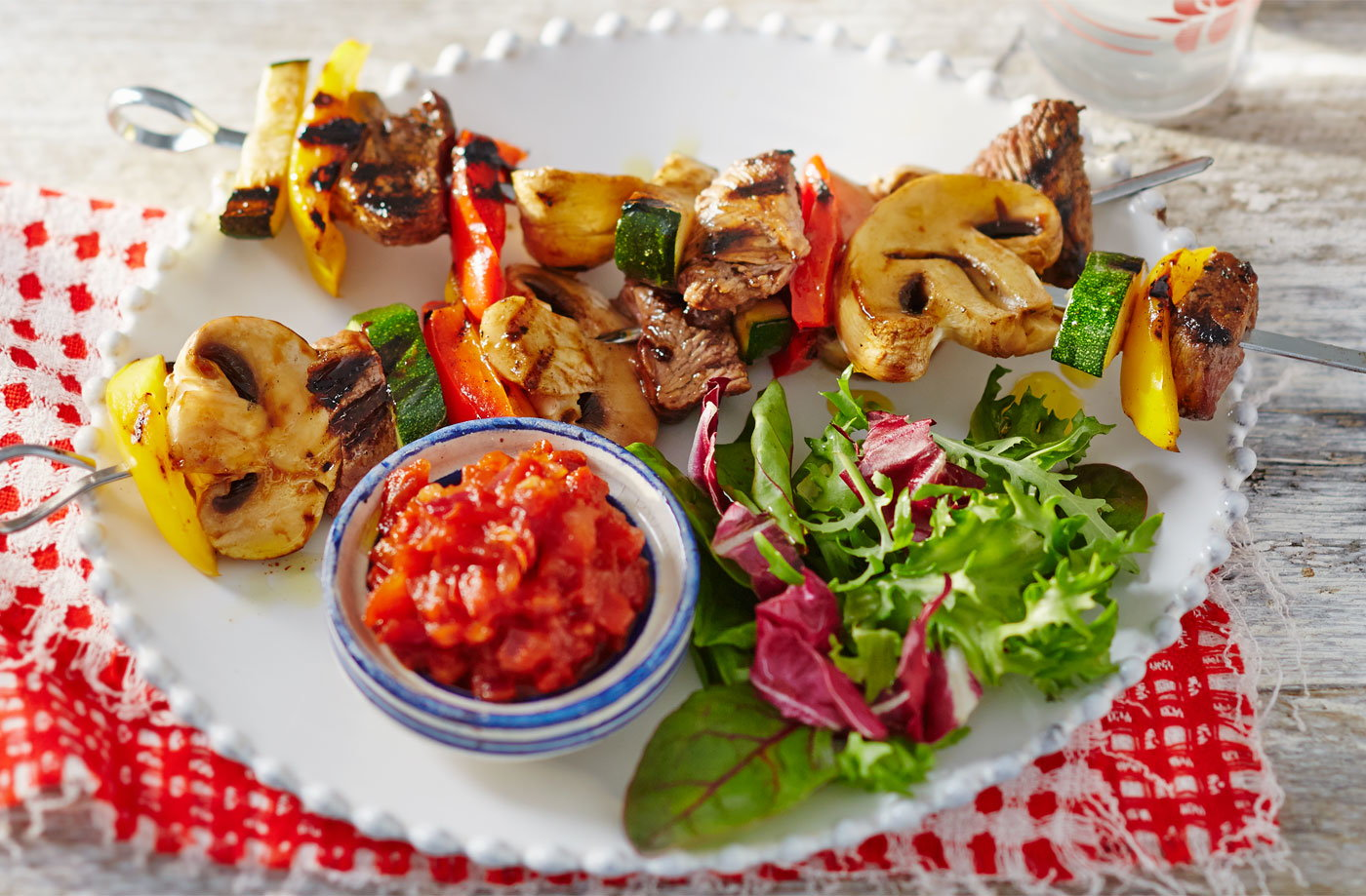 Cola lamb kebabs with spicy tomato relish