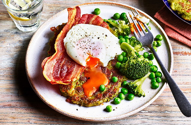 Wednesday: Broccoli and pea fritters with bacon and eggs