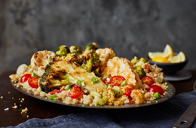 Monday: Middle Eastern broccoli and cauliflower couscous