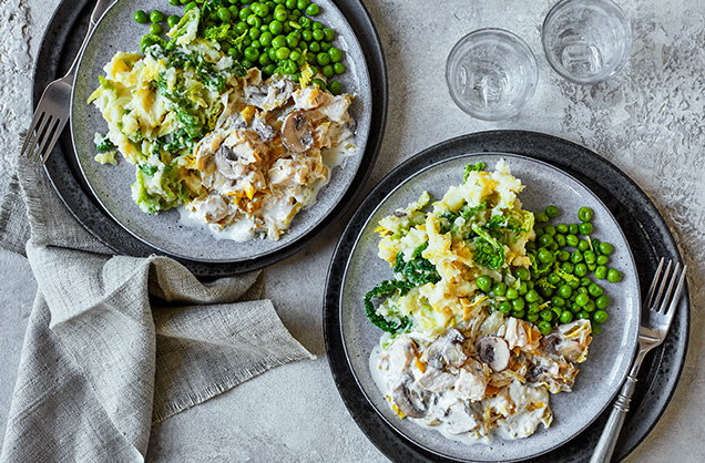 Wednesday: Creamy mushrooms and chicken with colcannon mash