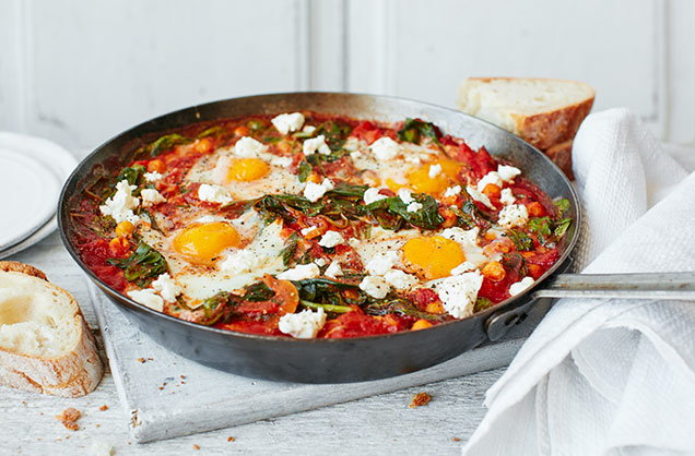 Thursday: Chickpea and spinach baked eggs