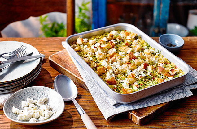 Monday: Courgette orzo traybake
