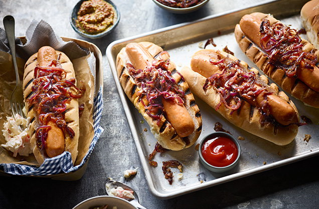 Friday: Caramelised onion hot dogs