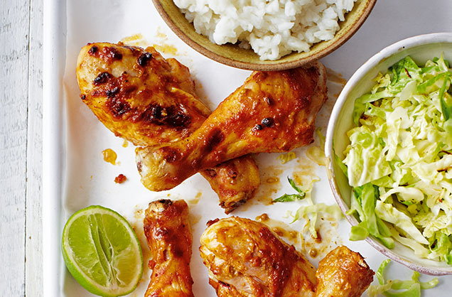 Friday: Peanut chicken drumsticks with rice and cabbage