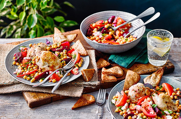 Wednesday: Crispy roast chicken thighs with beetroot and chickpea salad