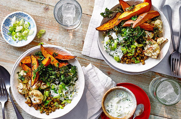 Wednesday: Roasted veg and lentil salad bowl