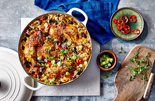Thursday: Spicy chicken, rice and peas bake
