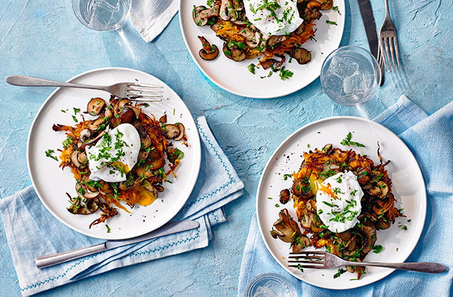 Wednesday: Sweet potato rosti with mushrooms and a poached egg