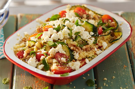 Courgettes really shine when combined with smoky BBQ flavours. Serve with couscous, dress with mint and basil, and top with feta to transport your tastebuds to the Mediterranean