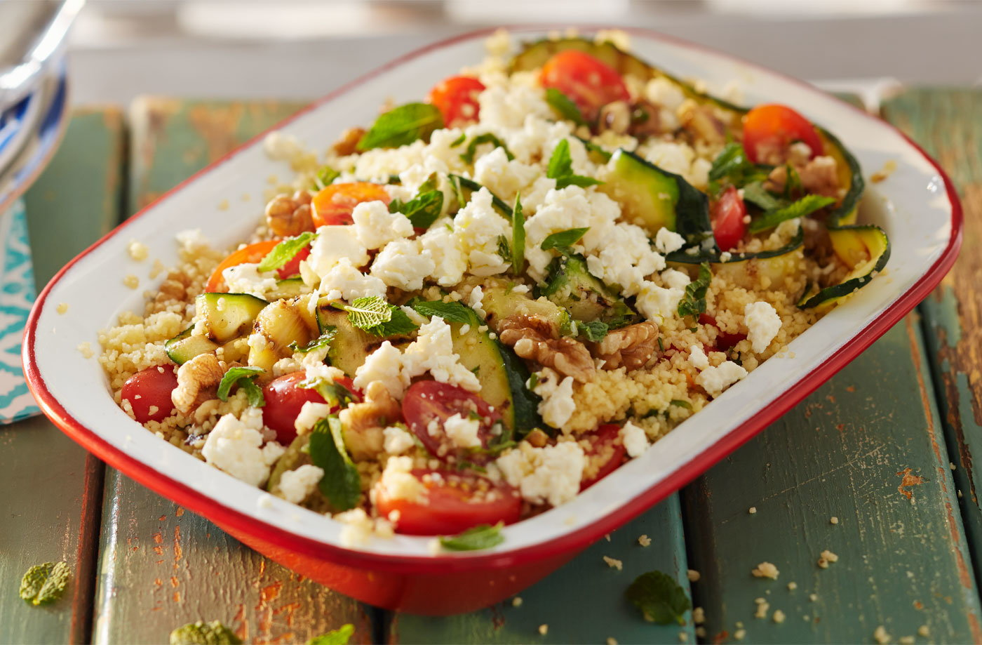 Barbecued courgette and couscous salad with feta recipe