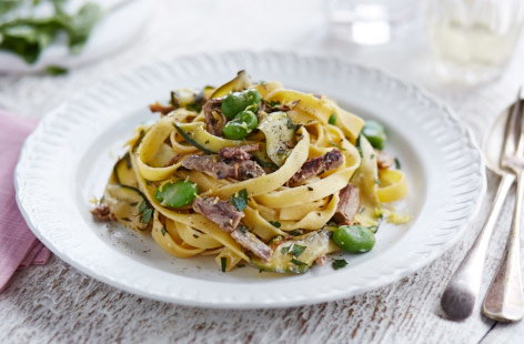 Leftover creamy lemon and courgette lamb pasta