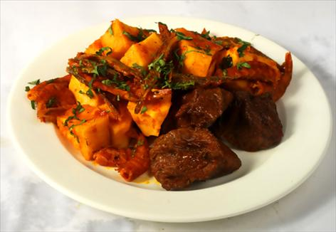 stewed Pottage with beef and spicy fried plantain