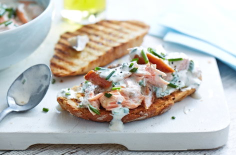 Leftover salmon and chive bruschetta
