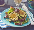 Griddled avocado with green salad and lemon dressing
