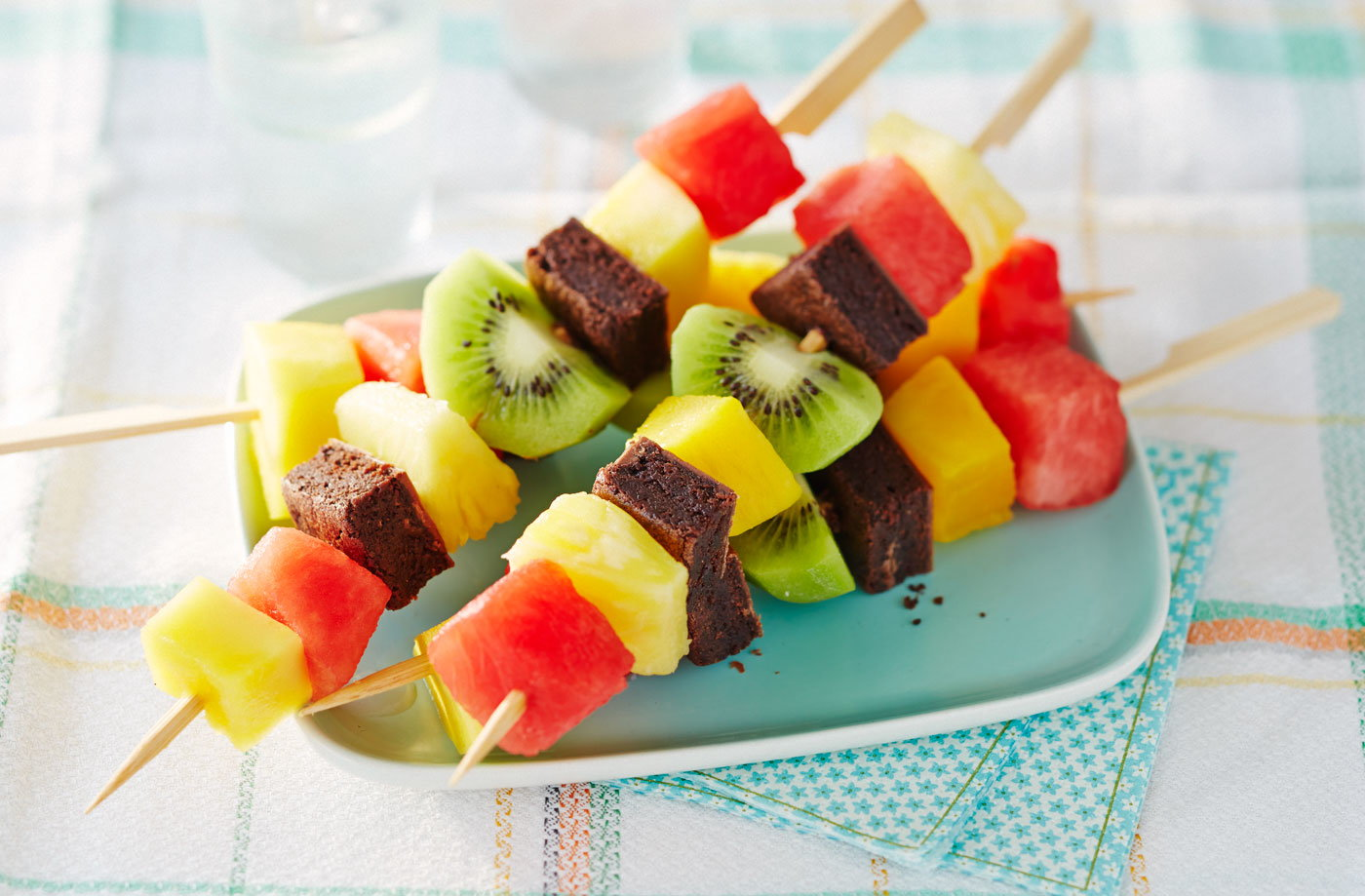 Fruit and brownie skewers