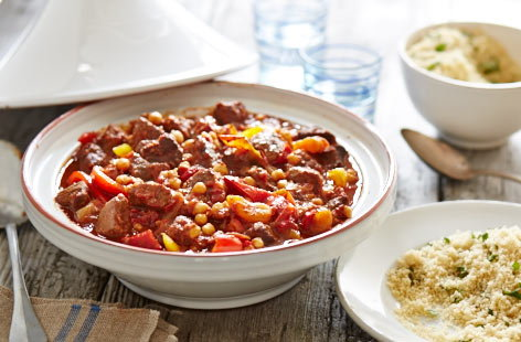Slow cooked beef tagine