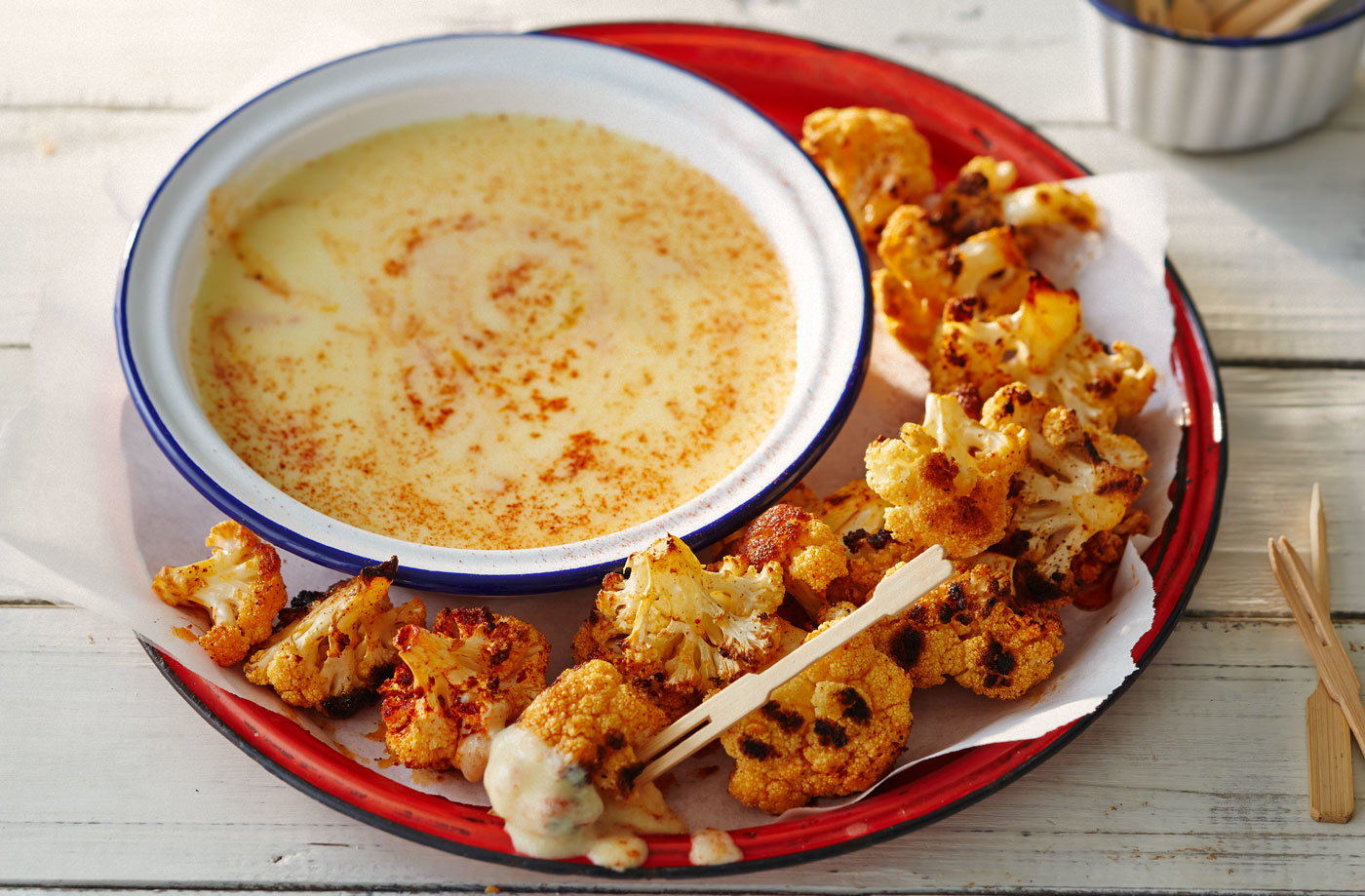 Smoky campfire cauliflower fondue