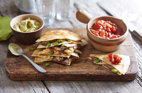 Leftover beef and broad bean quesadillas
