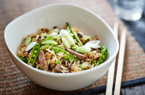 Leftover beef and black bean fried rice