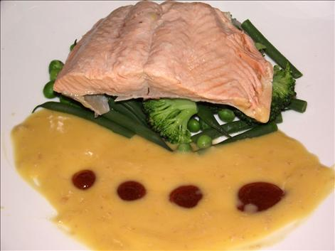 Poached fillet of trout
