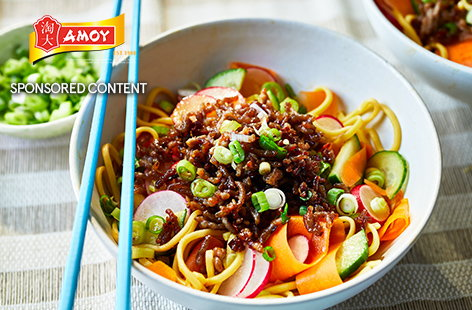 This super speedy noodle salad is ready in just 20 minutes. Crispy spiced pork combines with hot noodles and colourful crunchy veg for an easy midweek meal that's healthy and budget-friendly