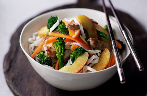 Apple, pork and ginger stir-fry
