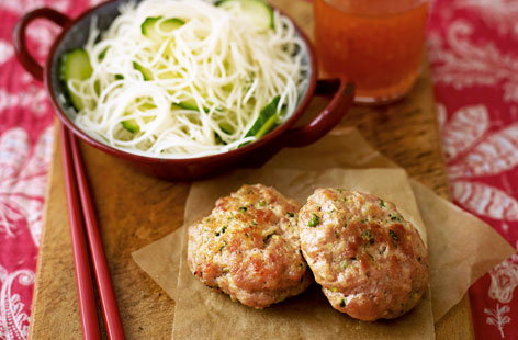 Asian pork cakes with rice noodles HERO