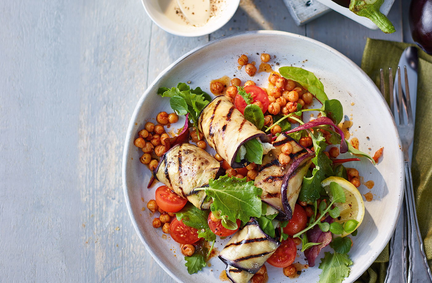 Aubergine and halloumi rolls with chickpea salad recipe