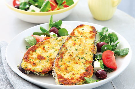 Aubergine schnitzels with Greek salad HERO
