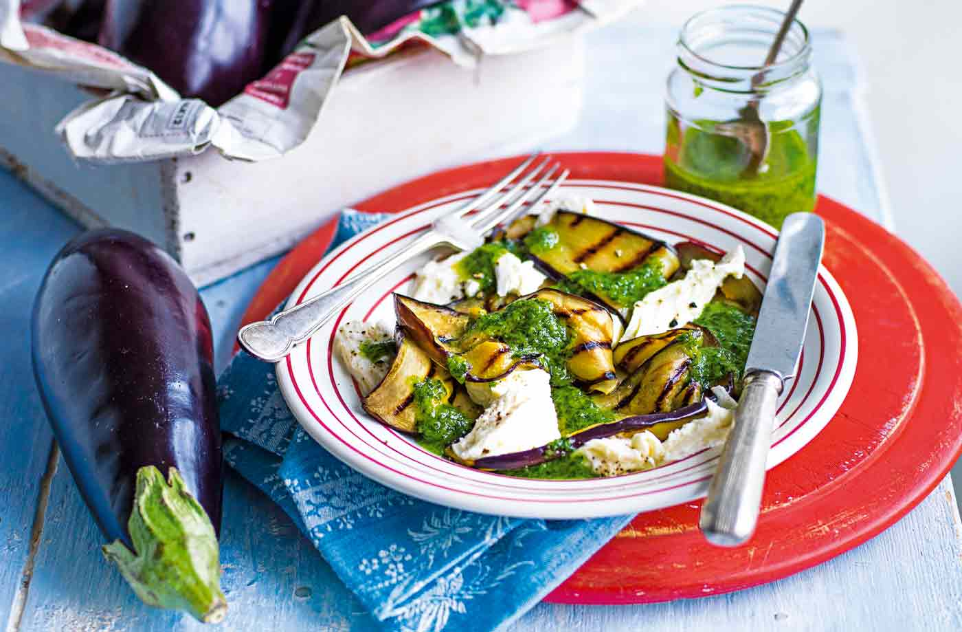 Grilled aubergine with almond and parsley pesto