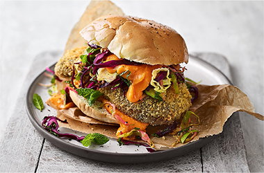 Crispy aubergine sandwich with sprout slaw and sweet potato 'mayo'