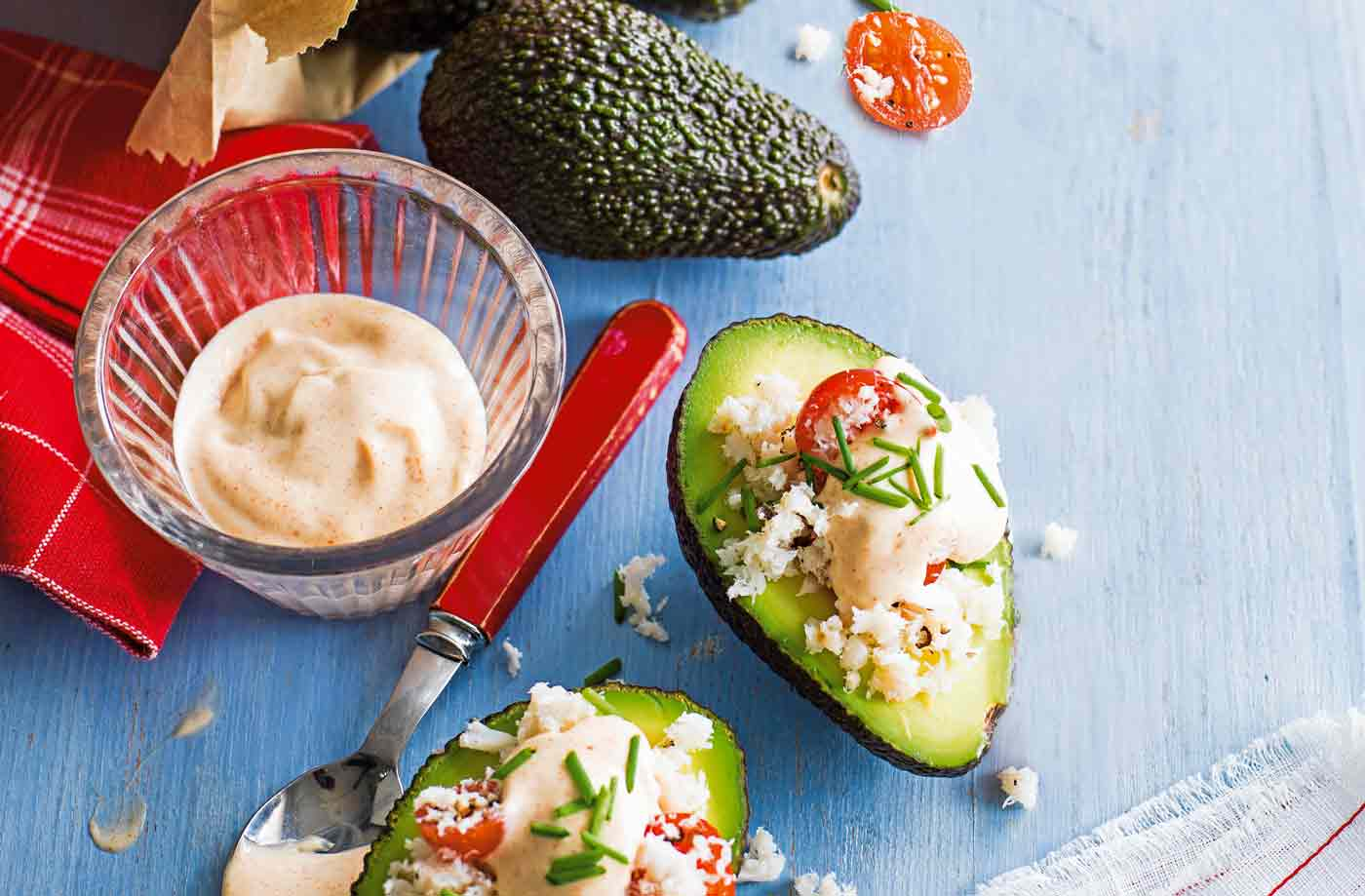Avocado stuffed with crab and paprika mayonnaise recipe