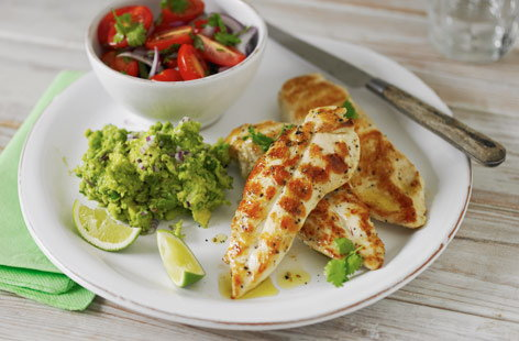 Barbecued chicken with guacamole recipe