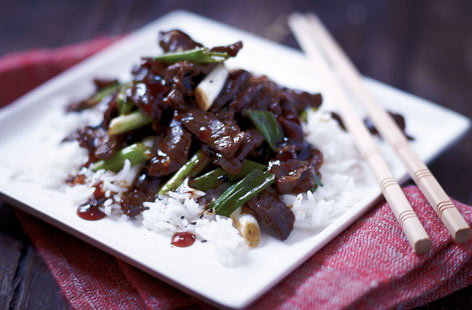 Beef, ginger and spring onion stir-fry