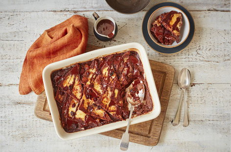 A decadent twist on a British classic, this chocolate bread and butter pudding has the unbeatable richness of chocolate and cream with lively orange zest to wake up the tastebuds - a perfect way to end a special meal or for when only the best comfort food will do.