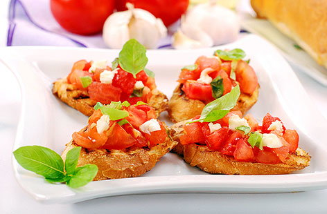 BRUSCHETTA WITH MOZZARELLA & TOMATOESHERO