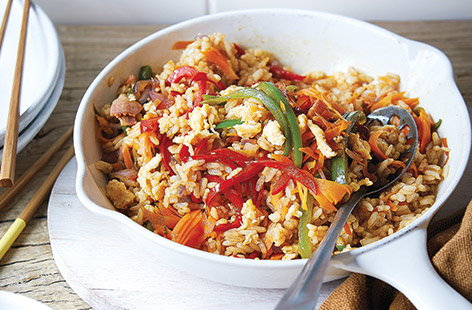 Cook up this bacon and egg fried rice for a quick and easy family dinner