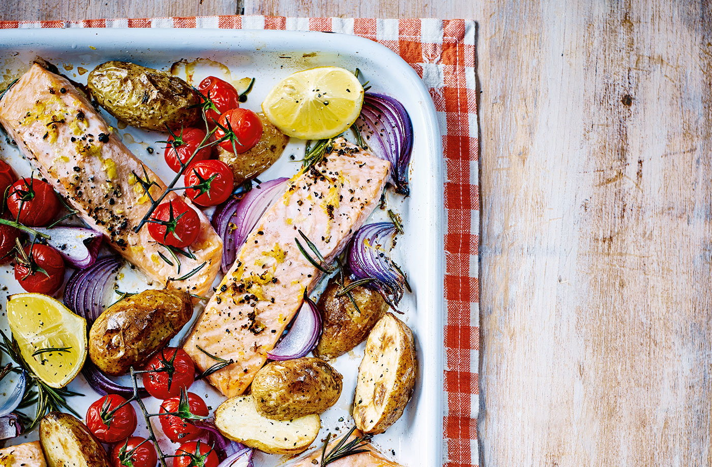 Baked salmon with roast Jersey Royals recipe