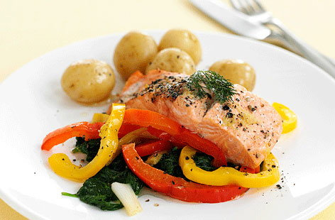 Baked salmon with mixed peppers