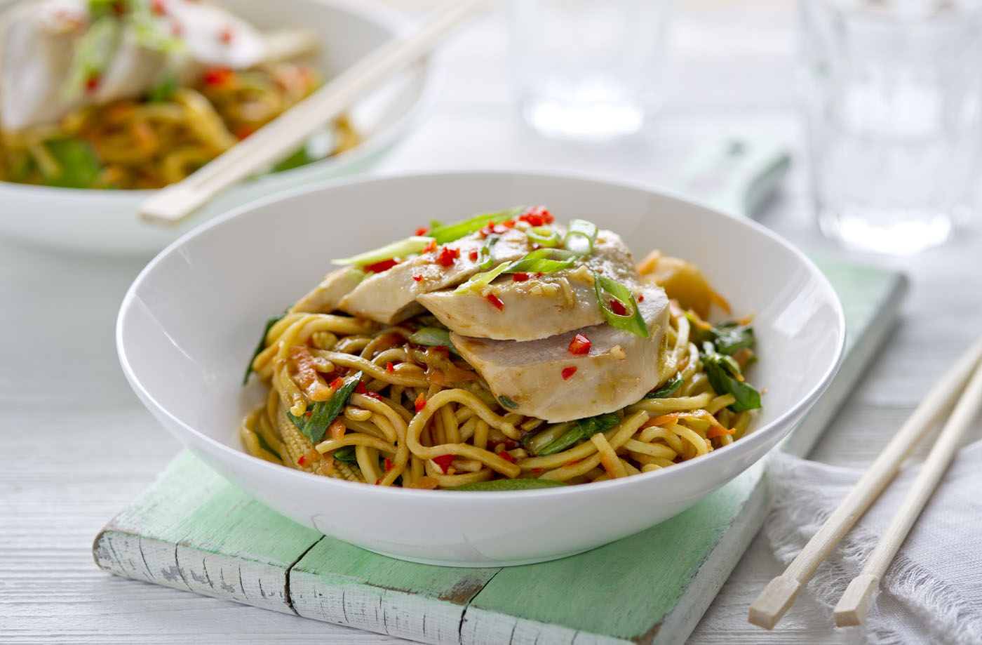 Healthy living balsamic chicken noodle stir fry recipe