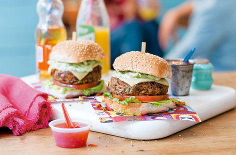 These Mexican bean burgers are brilliant vegetarian alternatives to beef burgers and a great way of getting the kids involved in the kitchen.