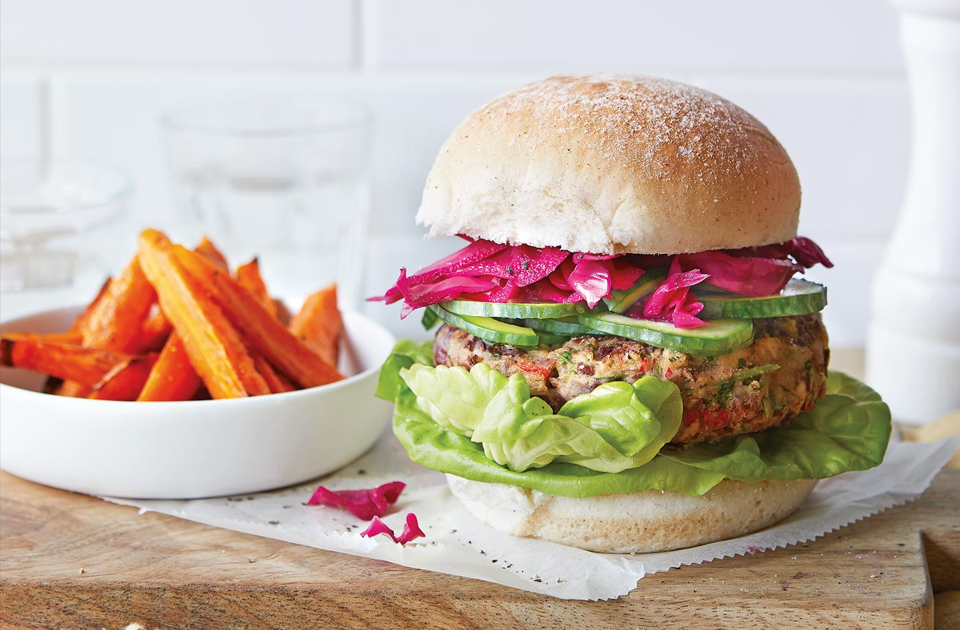 Bean burgers with carrot fries recipe