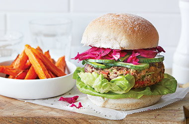 Bean burgers with carrot fries
