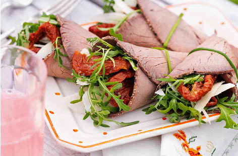 Beef and rocket wraps