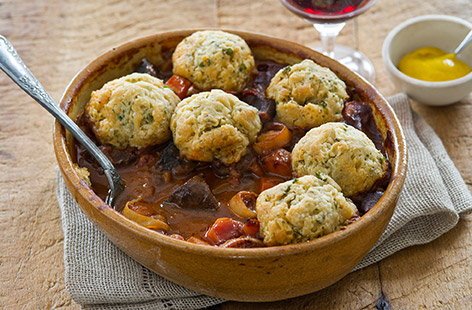 Beef heart with red wine and dumplings 1