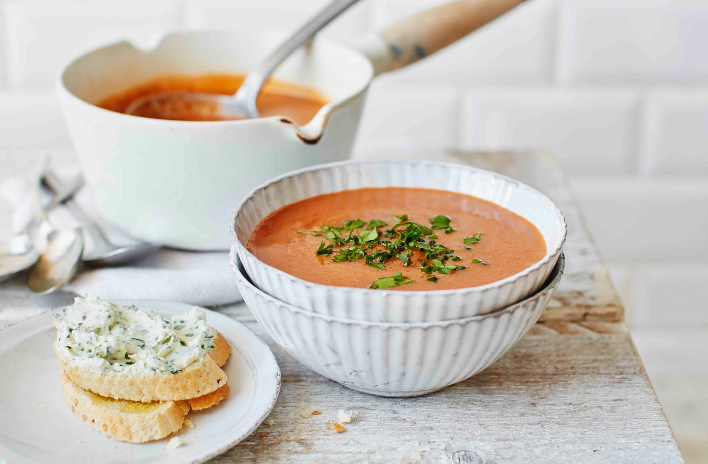 Beetroot, cumin and carrot soup with goat's cheese toasts recipe
