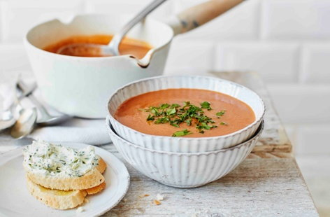 Beetroot, cumin and carrot soup with goat's cheese toasts